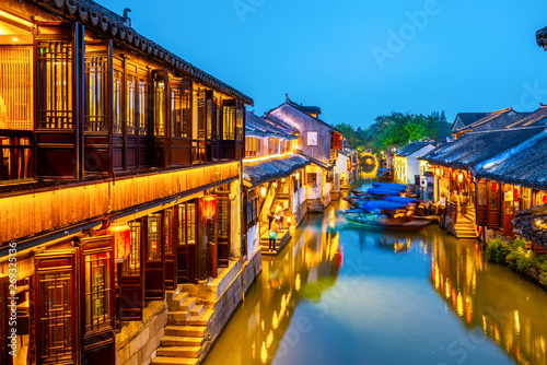 Foto op Aluminium Shanghai Beautiful Night View of Zhouzhuang, an Ancient Town in Jiangsu Province