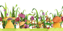 Seamless Border. Mushrooms With Grass, Flowers, Butterfly, Fence, Signpost. Watercolor And Colored Pencil Illustration.