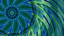 Green Blue Fractal Seamless Loop Background Animation. Abstract Video Footage Element.