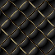 Background Of Elegant Quilted Pattern Vip Black And Gold Line