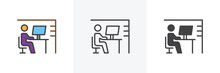 Workplace Desk Icon. Line, Gly...