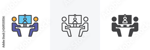 Obraz Video conference icon. Line, glyph and filled outline colorful version, businessmen communicate at a table outline and filled vector sign. Symbol, logo illustration. Different style icons set.  - fototapety do salonu