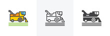 Combine Harvester Icon. Line, Glyph And Filled Outline Colorful Version, Harvesting Machine Outline And Filled Vector Sign. Symbol, Logo Illustration. Different Style Icons Set. Vector Graphics
