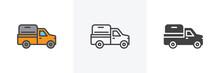 Pickup Truck Icon. Line, Glyph...