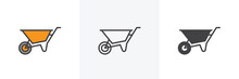 Wheelbarrow Cart Icon. Line, Glyph And Filled Outline Colorful Version, Wheel Barrow Outline And Filled Vector Sign. Symbol, Logo Illustration. Different Style Icons Set. Vector Graphics