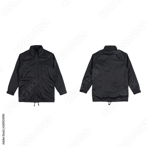 Blank plain coach jacket black color front and back view, isolated on white background. ready for your mock up design project,  Wall mural