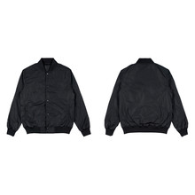 Blank Plain Bomber Jacket Isolated On White Background. Black Bomber Jacket. Parachute Jacket. Front And Back View. Ready For Your Mock Up Design Project.
