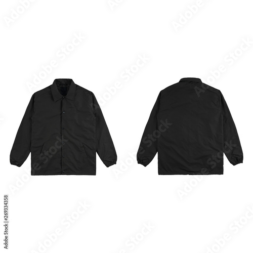 Blank plain windbreaker jacket black color front and back side view isolated on white background. ready for your mock up design project. Wall mural