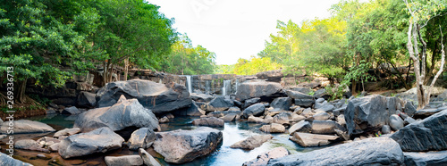 Poster Forest river Namtok Tat Ton Popular summer destinations and is the best waterfall in Chaiyaphum, Thailand.Tat Ton National Park.Waterfalls with natural stone view, people come to travel in the summer a lot.