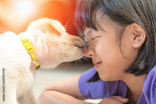 Asian kid girl playing with puppy in house Poster Mural XXL