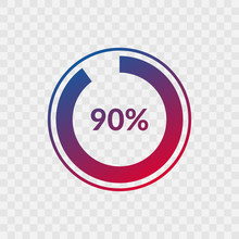 90 Percent Blue And Red Gradient Pie Chart Sign. Percentage Vector Infographic Symbol. Ninety Circle Icon Isolated On Transparent Background, Illustration For Business, Download, Web Design