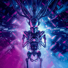 Artificial Intelligence Reaper / 3D Illustration Of Science Fiction Skeleton Humanoid Android Inside Futuristic Computer Core
