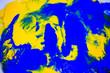 Leinwandbild Motiv Dynamic fluid color paint splashes background. Blue and orange mixed liquid backdrop. Abstract marbling effect. Dynamic fluid