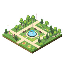 Isometric Park Landscape With Green Plants, Flower Beds, Fountain, Benches And Swings. Vector Illustration On White Background.