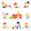 Cute Little Kids Playing with Toys Set, Toddler Boys and Girls Playing with Pyramid, Blocks, Car, Sorter, Balls Vector Illustration