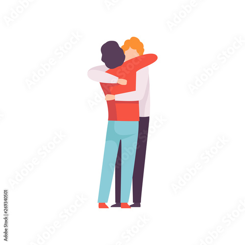 Canvas Print Young Men Embracing Each Other, Happy Meeting, People Celebrating Event, Best Fr