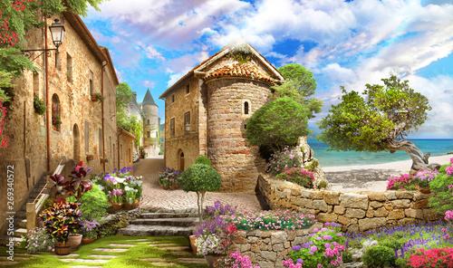 Stara ulica z widokiem na morze. Drzewa, kwiaty. Cyfrowy fresk i modułowe panno.