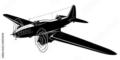 Vector silhouette of the old bomber plane Wallpaper Mural