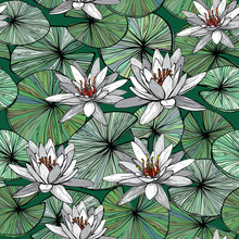 Seamless Pattern With Water Lilies.