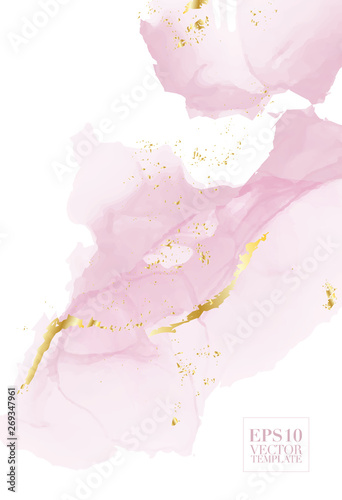 High quality vector Alcohol ink shape in tender pink and gold colors. Modern abstract painting, contemporary wedding decoration. Watercolor art with golden glitter elements. Delicate liquid flow - 269347961