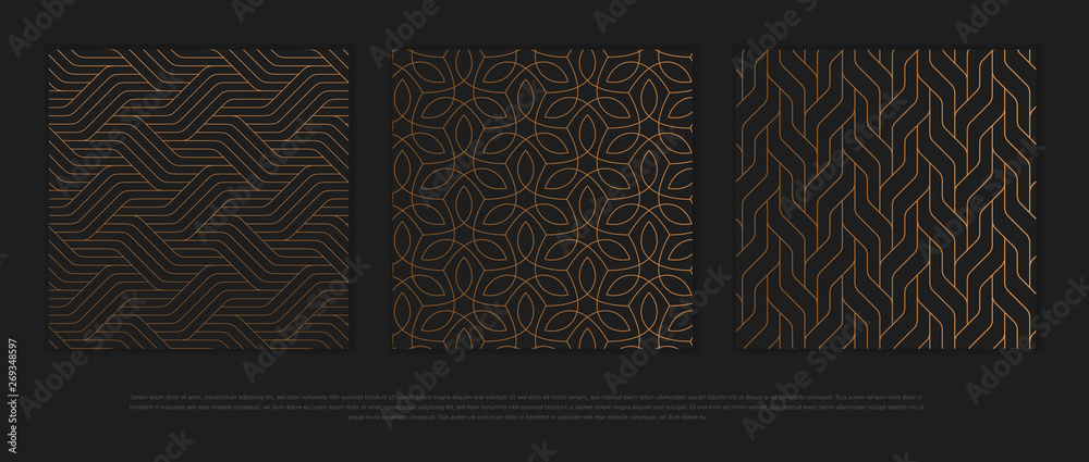 Fototapeta Vector set of design elements, labels and frames for packaging for luxury products in trendy linear style.