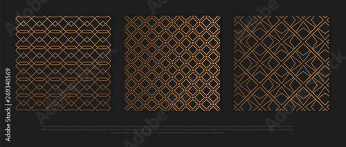 Fototapeten Künstlich Vector set of design elements, labels and frames for packaging for luxury products in trendy linear style.