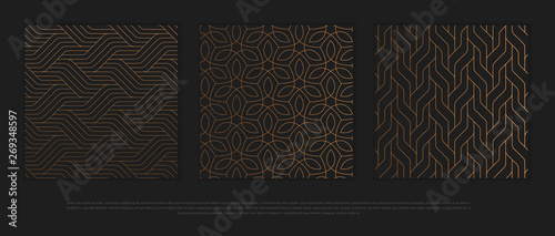 Leinwand Poster Vector set of design elements, labels and frames for packaging for luxury products in trendy linear style