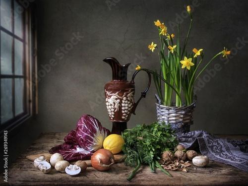 Fototapeta Still life with radicchio salad and daffodils bouquet obraz