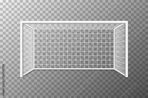 Vászonkép Football soccer goal realistic sports equipment on transparent background