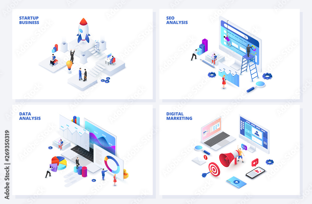 Fototapeta Isometric 3d illustrations set. Startup, seo and data analysis, digital marketing with characters.