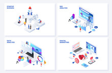 Isometric 3d Illustrations Set...
