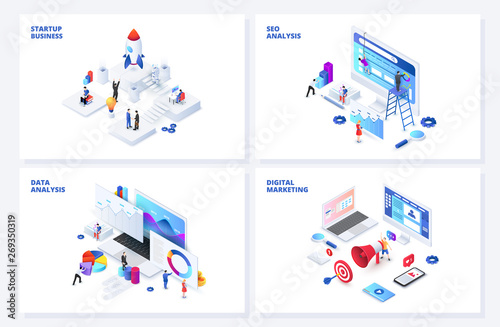 Photographie Isometric 3d illustrations set