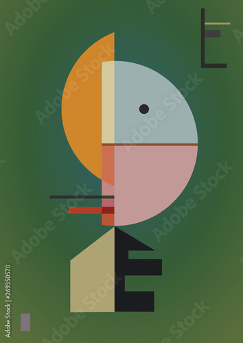 digital style inspired by a painting expressionism art style and geometric. Colorful background