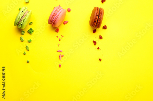 Photo Stands Macarons Tasty macarons on color background