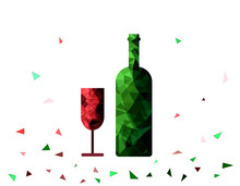 Low Poly Glass And Bottle On ...