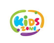 Modern Colorful Kids Zone Sign Logo Illustration In Isolated White Background
