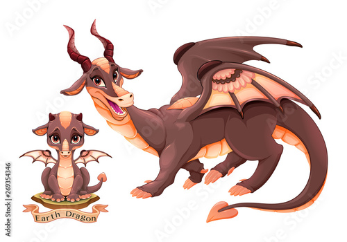 In de dag Kinderkamer Dragon of Earth Element in two variation, puppy and adult