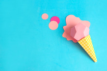 Ice Cream In Cone Made Of Paper