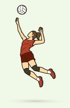 Woman Volleyball Player Action...