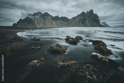 Spoed Foto op Canvas Bleke violet Exotic landscape of the volcanic beach. Location Stokksnes cape, Vestrahorn, Iceland, Europe.