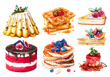 Watercolor Set Of Cakes, Sweet...