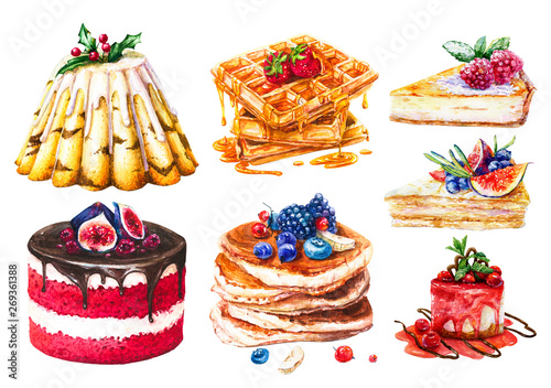 Photo  Watercolor set of cakes, sweet pastries