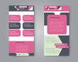 Flyer template. Vectical banner design. Modern abstract two side narrow brochure background. Vector illustration. Pink and grey color.