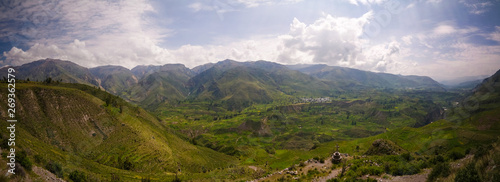 Aerial panoramic view to Colca canyon and Madrigal city from the Madrigal viewpoint, Chivay, Arequipa, Peru