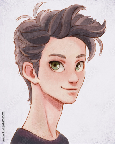 Hand Drawn Watercolor Digital Illustration Of Portrait Of A Handsome Cartoon Young Smiling Man Looking At The Camera Cartoon Character Teenage Brunette Boy Man With Big Green Eyes And Brown Hair