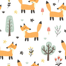 Funny Fox Seamless Pattern. Fo...