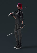 Cyberpunk Girl In A Leather Jacket Standing And Holding Two Futuristic Katana Swords. Urban Young Woman With Short Red Hair With Japanese Samurai Sword On Shoulder. 3d Rendering On Gray Background.