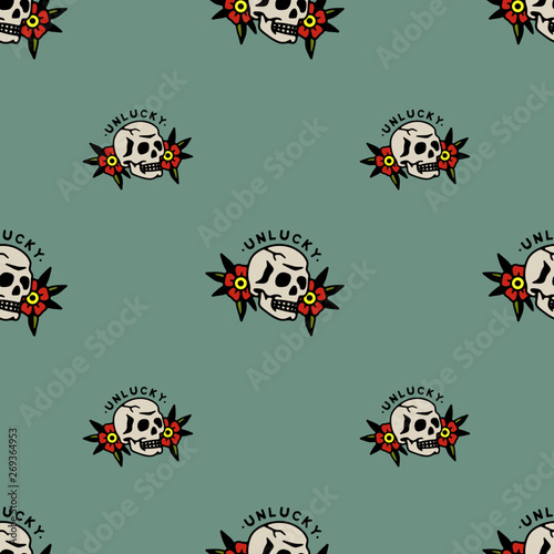 Valokuva UNLUCKY SKULL FLOWERS TRADITIONAL TATTOO SEAMLESS PATTERN COLOR BACKGROUND