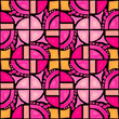 Leinwanddruck Bild - circles and squares drawn with pink and orange watercolor with black lines