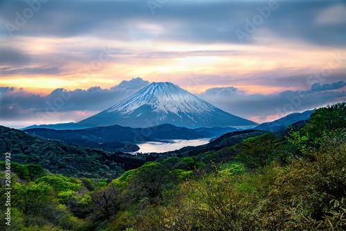 Fotografia, Obraz  富士山 風変わり 夕陽